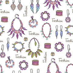 Vector seamless pattern of hand drawn fashionable jewelry for women. Background for use in design, web site, packing, textile, fabric