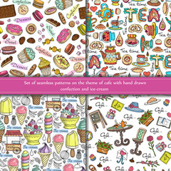 Vector set of seamless patterns on the theme of cafe with hand drawn confection, ice-cream, baking, donuts and cupcakes. Background for use in web site, packing, textile, fabric