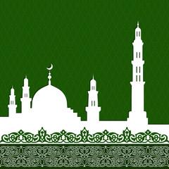 Deurstickers mosque with minaret