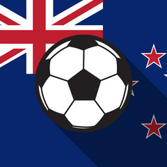football icon with New Zealand flag background,long shadow