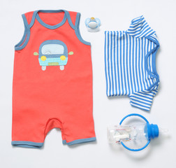 top view fashion trendy look of baby boy clothes and stuff