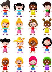 Cute children girls cartoon collection