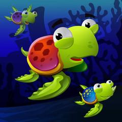 Illustration of turtles underwater