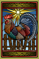 Rooster in color linocut ethno style