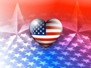American Flag Heart and Stars America Background