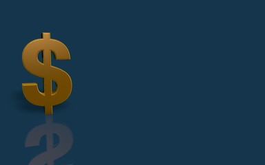 Gold Dollar symbol on blue background with reflection.