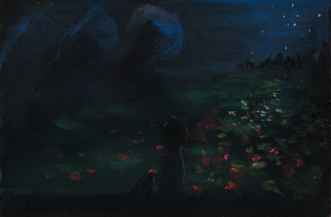 Hand painted image of night scene with a child and field of flowers