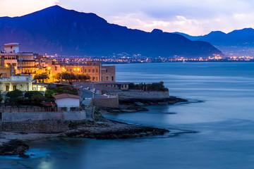 Garden Poster Palermo Town of Aspra near Palermo at dawn