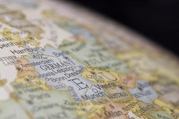 Macro of Germany on a globe, narrow depth of field