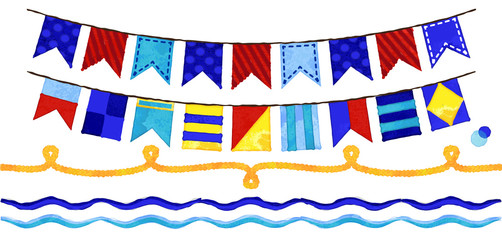 Vector Watercolor Style Nautical Rope, Waves and Bunting Flags