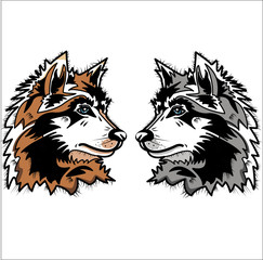 vector illustration of two wolves' head