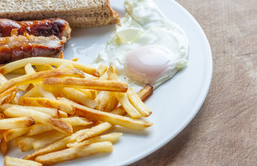 Sausage, egg and chips