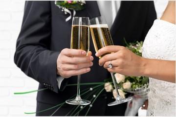 Wedding, Bride, Champagne.