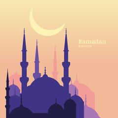 Ramadan Kareem greeting card with silhouette of purple mosque an