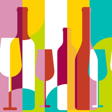 Vector seamless background, wine bottle and glass silhouette. Ab