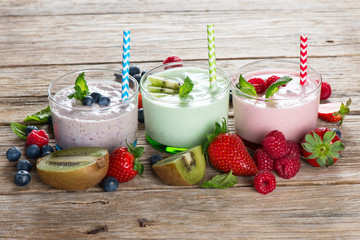 Colorful smoothies and berries