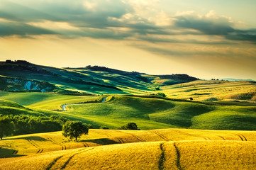 Tuscany spring, rolling hills on sunset. Volterra rural landscap Wall mural