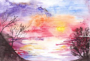 Watercolor purple lake river sunset