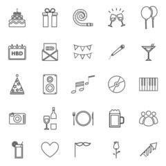 Birthday line icons on