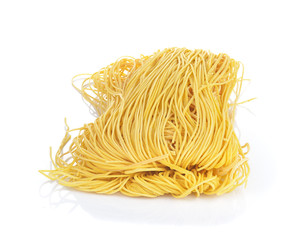 Dry noodles (Chinese cuisine) on white background