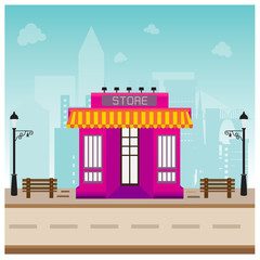 store building in city space with road on blue background concep