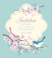 Wall Mural - Wedding invitation with birds and flowering branches