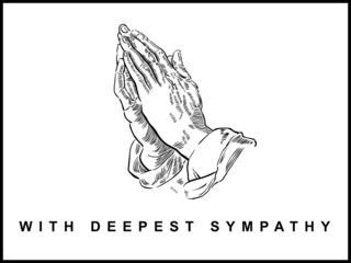 Sympathy Card, Praying Hands, Drawing, Landscape Format, Vector