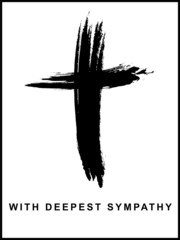 Sympathy Card, Cross, Brushstroke, Panel Format, Vector