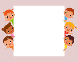 illustration image of children looking at blank sign with copy space