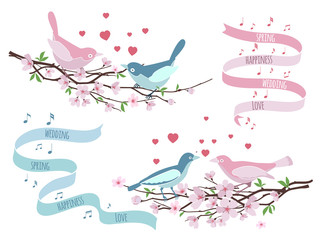 Wall Mural - Birds on branches for wedding invitations