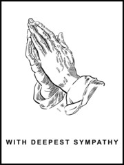 Sympathy Card, Praying Hands, Drawing, Panel Format, Vector