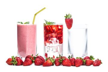 fresh strawberry cocktail closeup