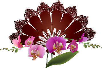 pink orchid and brown fan on white