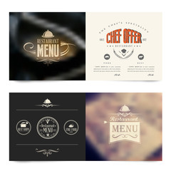 Vector horizontal banners with restaurant menu