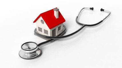 House model with stethoscope isolated on white background