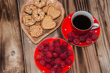 Ripe raspberry and cookies