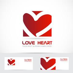 Love heart logo red