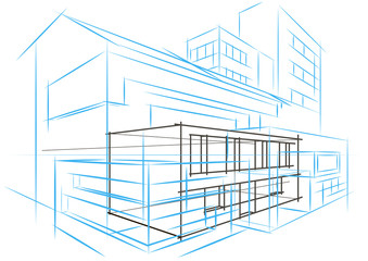 Linear architectural sketch concept abstract building