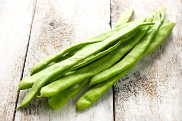 flat green beans. raw vegetables, close-up photography