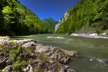 Beautiful view of the mountain river Dunajec