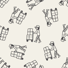 delivery doodle seamless pattern background