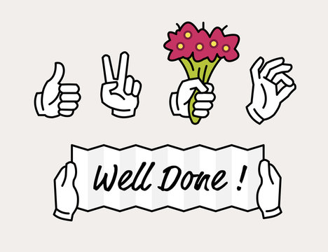 Hand icon showing thumbs up, like, okay sign, holding flowers and holding a Well Done banner