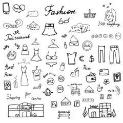 Fashion collection Sketchy Doodles set with Lettering, Hand-Drawn Vector Illustration Design Elements isolated on white Background