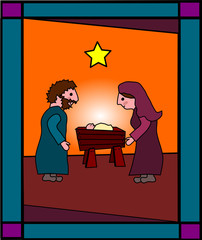 Joseph, Mary and Jesus cartoon