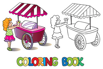 Girl with ice cream. Coloring book