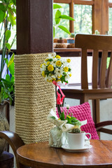 flowers pots decoration on wooden table