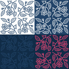 Hand drawn seamless folk pattern with leaves and flowers