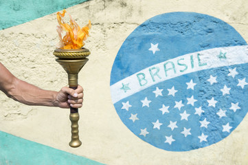 Brazilian Athlete Holding Sport Torch Brazil Flag Rio