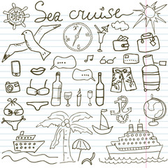 Hand drawn sketch sea cruise doodles vector illustration of Travel and summer elements, on paper notebook