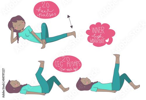 Esercizi fitness interno coscia ragazza di colore fotos for Interno e esterno coscia esercizi